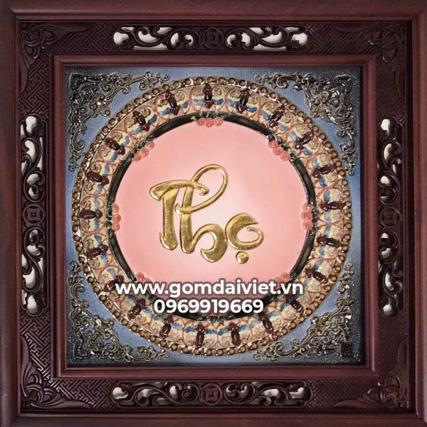 Tranh gốm sứ Bát Tràng đắp chữ Thọ dát vàng gỗ gụ 50cm