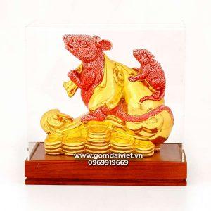 Tượng gốm chuột phong thủy Canh Tý dát vàng màu đỏ 20cm