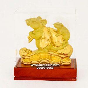 Tượng gốm chuột phong thủy Canh Tý dát vàng màu vàng 20cm