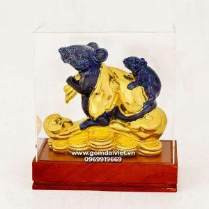 Tượng gốm chuột phong thủy Canh Tý dát vàng màu xanh đen 20cm
