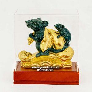 Tượng gốm chuột phong thủy Canh Tý dát vàng xanh ngọc 16cm