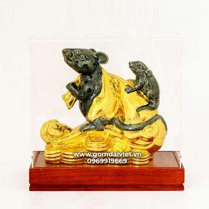 Tượng gốm chuột phong thủy Canh Tý dát vàng xanh rêu 20cm