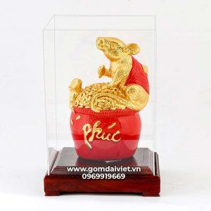 Tượng linh vật Chuột Sa Chĩnh Gạo Canh Tý dát vàng màu đỏ 24cm