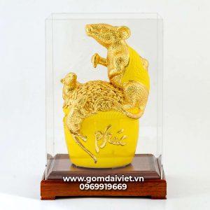 Tượng linh vật Chuột Sa Chĩnh Gạo Canh Tý dát vàng màu vàng 30cm