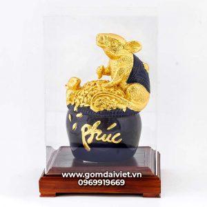 Tượng linh vật Chuột Sa Chĩnh Gạo Canh Tý dát vàng màu xanh đen 24cm