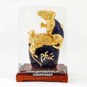 Tượng linh vật Chuột Sa Chĩnh Gạo Canh Tý dát vàng màu xanh đen 30cm