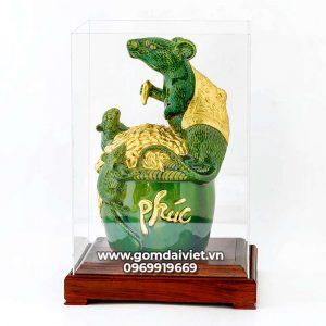 Tượng linh vật Chuột Sa Chĩnh Gạo Canh Tý dát vàng xanh ngọc lục bảo 30cm
