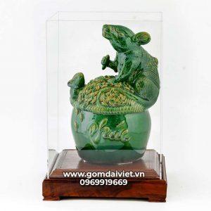 Tượng linh vật Chuột Sa Chĩnh Gạo Canh Tý men xanh ngọc lục bảo 24cm
