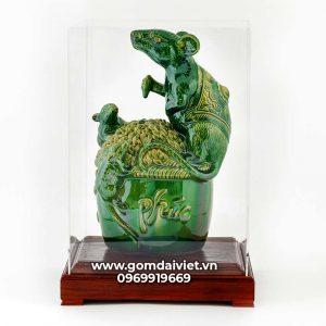 Tượng linh vật Chuột Sa Chĩnh Gạo Canh Tý men xanh ngọc lục bảo 30cm