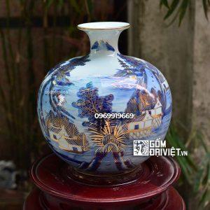Bình hút tài lộc men lam vẽ vàng - Vẽ Cảnh Sơn Thủy - 30cm