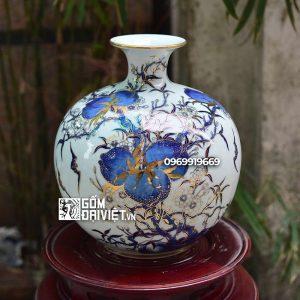 Bình hút tài lộc Phúc Thọ Khang Ninh vẽ vàng 24K Bát Tràng