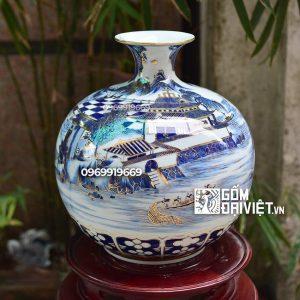 Bình hút tài lộc Sơn Thủy Lâu Đài - Vẽ vàng 24K Bát Tràng - 35cm