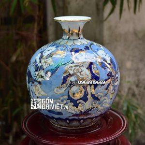 Bình Hút Tài Lộc vẽ Vinh Hoa Phú Quý men lam vẽ vàng 24K 30cm