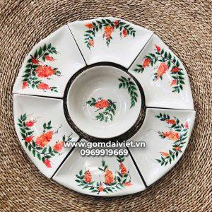 Bộ bát đĩa ăn cơm 7 món hoa mặt trời vẽ hoa thiên lý Bát Tràng