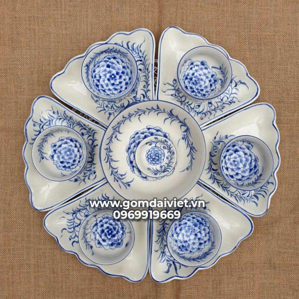 Bộ bát đĩa ăn cơm hoa mặt trời 7 món vẽ Hoa văn cổ Bát Tràng