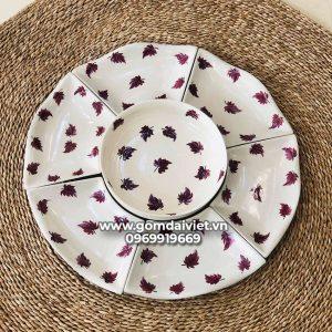 Bộ đồ ăn cơm hoa mặt trời 7 món vẽ lá cây tím Bát Tràng