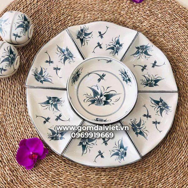 Bộ đồ ăn cơm vẽ chuồn cỏ dáng hoa mặt trời 7 món cao cấp