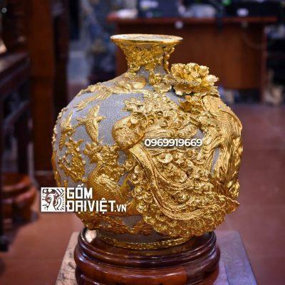 Bình hút lộc - Công đào đắp nổi - men rạn dát vàng 18K 35cm