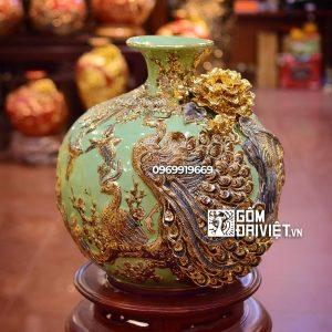 Bình hút lộc - đắp Công Đào - vẽ vàng men xanh cốm 35cm Bát Tràng