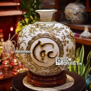 Bình hút lộc đắp nổi 3 chữ Phúc Lộc Thọ màu trắng vẽ vàng 40cm