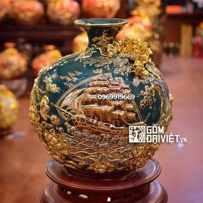 Bình hút lộc vẽ vàng 18K cao 35cm - đắp cảnh Thuận Buôm Xuôi Gió - men xanh cổ vịt