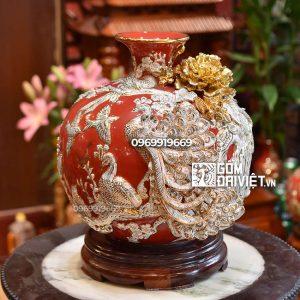 Bình hút tài lộc Bát Tràng men đỏ - nền trắng vẽ vàng - Chim khổng tước 35cm
