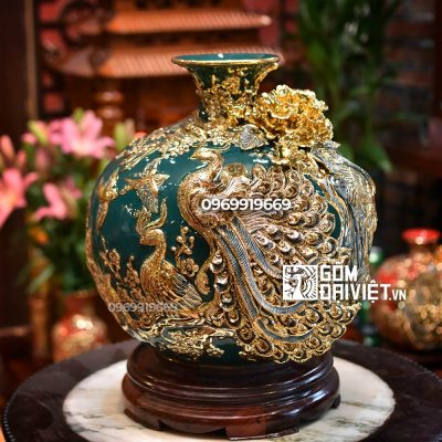 Bình hút tài lộc Khổng Tước Phú Quý men xanh cổ vịt vẽ vàng 35cm