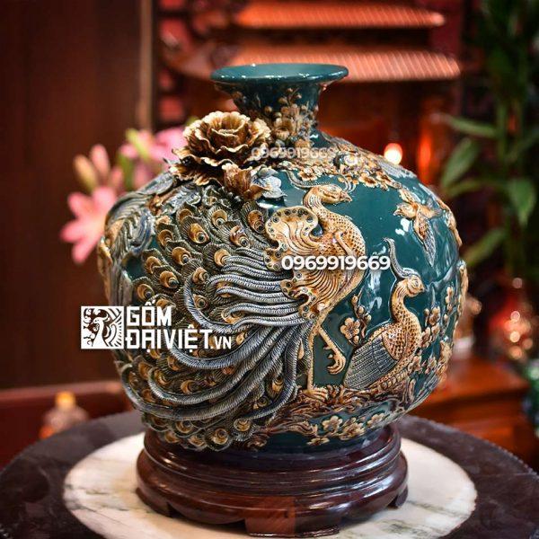 Bình hút tài lộc Khổng Tước Phú Quý men xanh đắp nổi - cao 35cm
