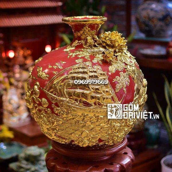Bình hút tài lộc - Men đỏ mệnh hỏa - Thuận Buồm xuôi gió - Dát vàng 35cm