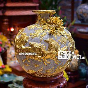 Bình hút tài lộc Men Rạn Bát Tràng - Mã Đáo Thành Công Dát Vàng - Cao 35cm