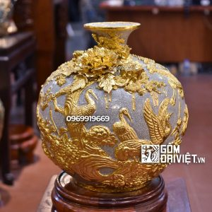 Bình hút tài lộc - tùng hạc diên niên - men rạn dát vàng 18K 35cm