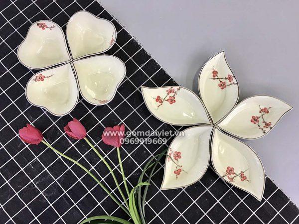 Bộ bát đĩa 2 sét đĩa hoa vẽ hoa đào đỏ cao cấp S3