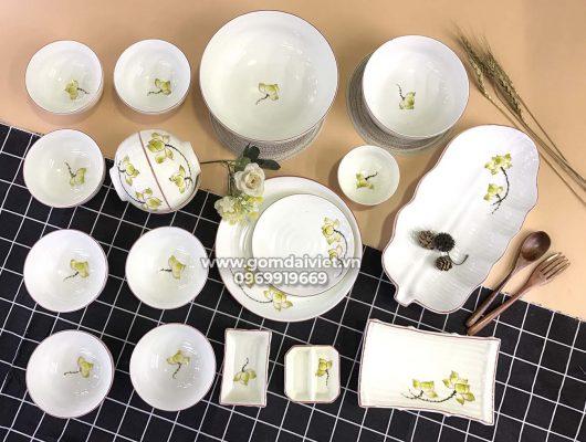 Bộ bát đĩa ăn cơm Bát Tràng vẽ hoa sen vàng cao cấp S4