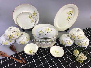 Bộ bát đĩa ăn cơm vẽ hoa sen vàng đầy đủ món S6