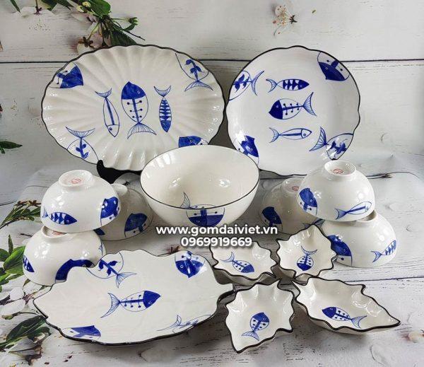 Bộ bát đĩa ăn cơm vẽ họa tiết cá men lam Bát Tràng