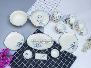 Bộ bát đĩa đồ ăn men kem vẽ sen xanh Số 2