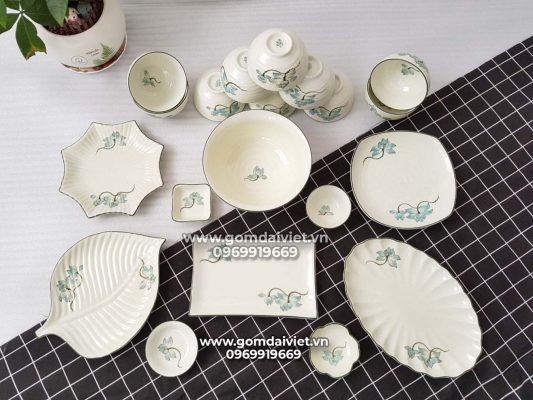 Bộ bát đĩa men kem Bát Tràng vẽ sen xanh đầy đủ S5
