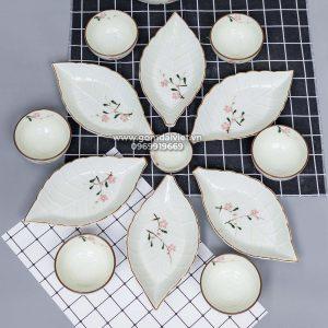 Bộ bát đĩa set 5 đĩa lá gân men kem vẽ hoa đào hồng S5