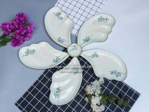 Bộ đồ ăn 5 đĩa cánh tiên men kem vẽ sen xanh Bát Tràng
