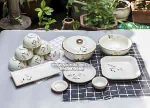 Bộ đồ ăn Bát Tràng men kem cao cấp vẽ hoa đào hồng S3