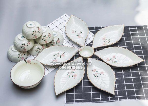 Bộ đồ ăn cơm vẽ hoa đào hồng Bát Tràng S1