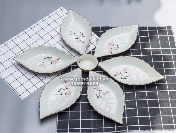 Bộ đồ ăn khay lá sâu vẽ hoa đào hồng Bát Tràng S2