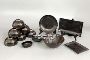 Bộ đồ ăn men đen giọt dầu Bát Tràng cao cấp