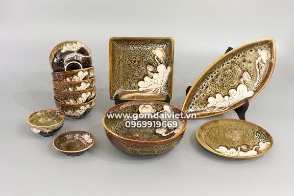 Bộ đồ ăn men hỏa biến gấm vàng khắc sen S2