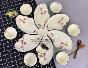 Bộ set bát đĩa cánh tiên xếp cánh hoa kèm bát ăn cơm vẽ đào đỏ S2
