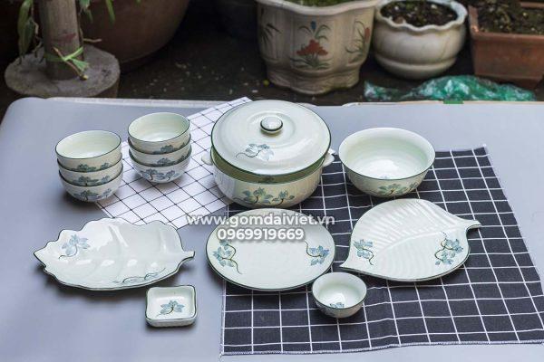 Combo bộ đồ ăn cơm gia đình vẽ hoa sen xanh men kem Bát Tràng