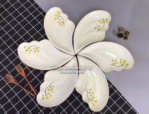 Set bộ bát đĩa Cánh tiên vẽ hoa sen vàng cao cấp S2