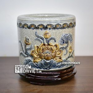 Bát hương sen Phật men rạn nổi