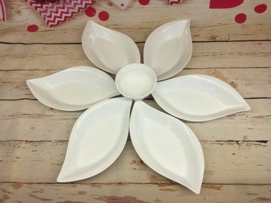 Bát đĩa sứ trắng hoa mặt trời