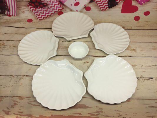 Bộ bát đĩa sứ trắng Bát Tràng